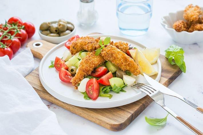 Fűszeres bundás csirkecsíkok